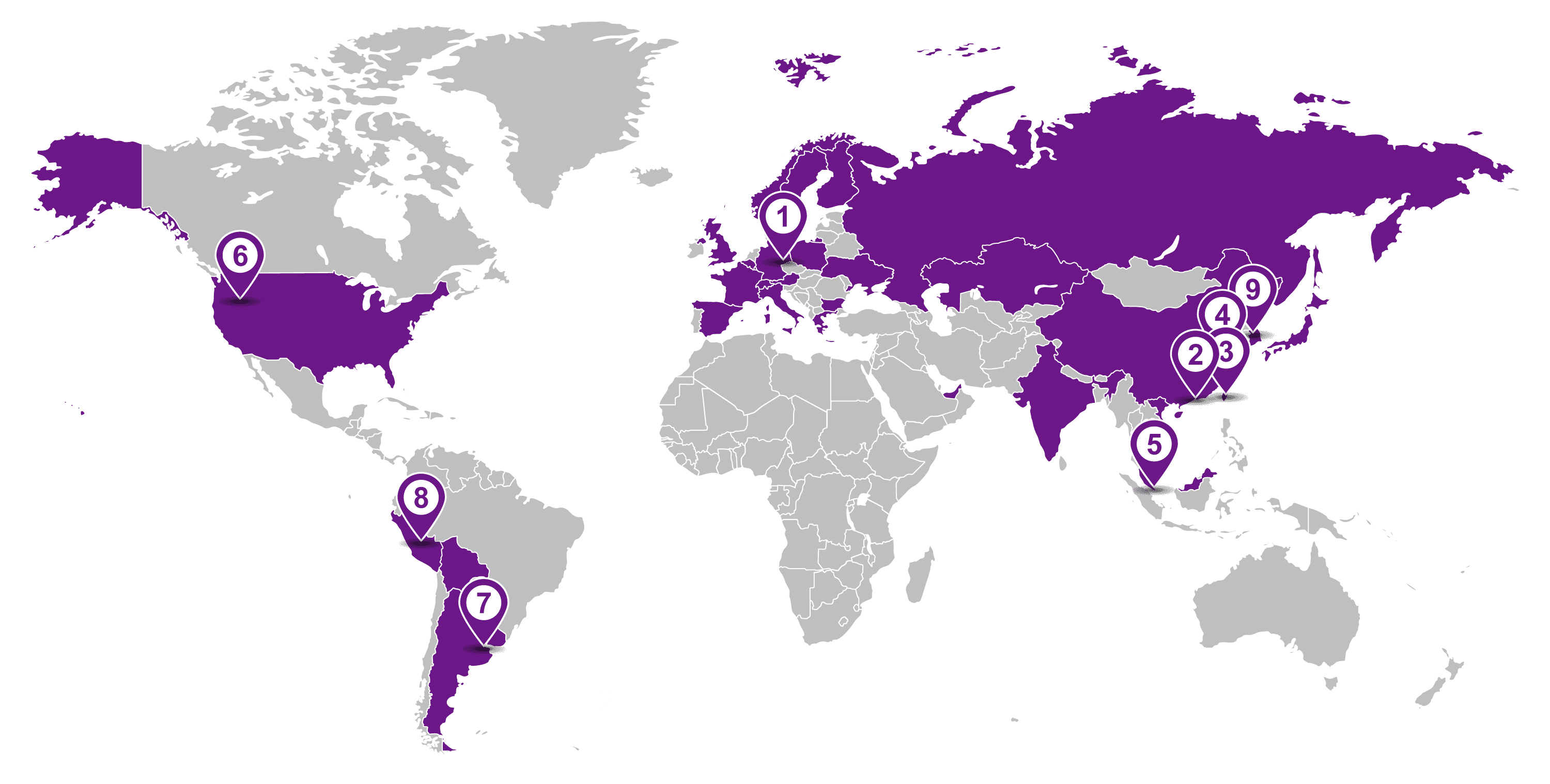 world map with all offices of DAS Environmental Experts
